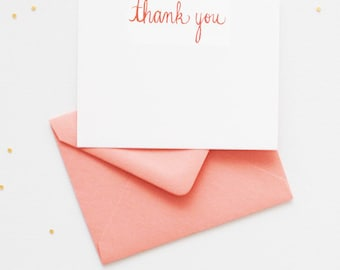 Ginger Orange Thank You Cards | Artist Hand-lettered Thank You Notes | Boxed Set of 20