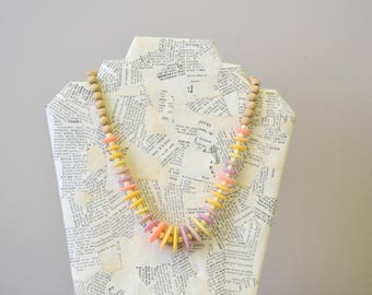1980s Pastel Bead Necklace