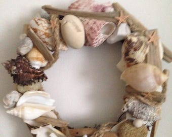 Shell Decor Decorative Shell Pebble Driftwood Wreath Coastel Theme Seaside Shells Beach House Wreath Nautical Wreath. Perfect Gift Unique