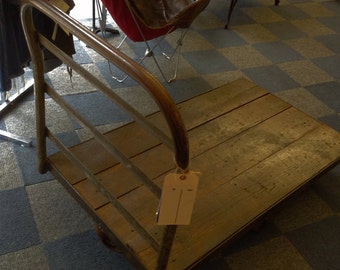 Vintage Industrial Iron & wood  Rolling Iron Factory Cart