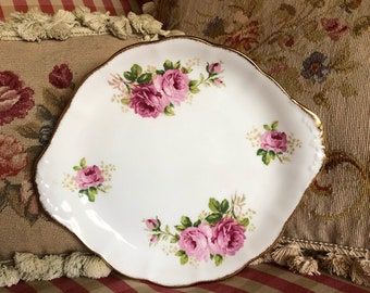 English Country Garden Cabbage  Roses oval Platter plate