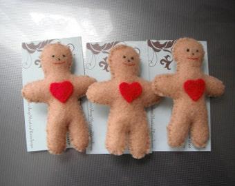 Felt Gingerbread Man Brooch / Jewelry / Handmade / Brooches