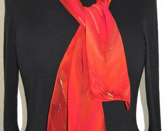 Red Silk Scarf Handpainted. Terracotta, Pink Hand Painted Shawl. Handmade Chiffon Scarf RED SANDSTONE. Size 8x54. Birthday, Bridesmaid Gift