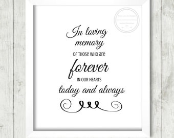 """Wedding Reception Sign, """"In Loving Memory"""", Wedding Decor, Memory Wedding, DIY Decor, Wedding Signage, Wedding Printable, Reception Sign"""