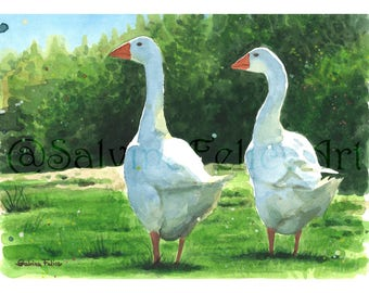 """Print made from my original watercolor painting """"geese"""" animals, feathered"""
