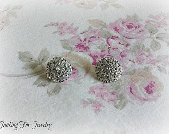 Vintage Avon Medallion Earrings Filigree Crystals