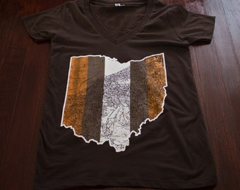 Cleveland Ohio map Ladies Jr fit V-Neck