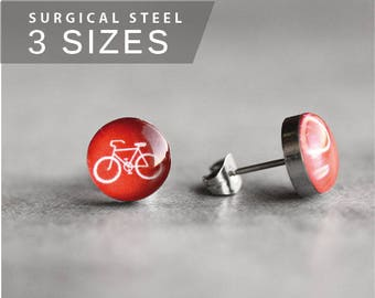Bicycle post earrings, Surgical steel studs, Tiny red earring studs, Sport stud earrings, mens earrings
