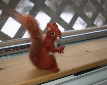 Needle Felted Realistic Red Squirrel, Soft Sculpture