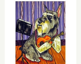 25% off Schnauzer Playing Guitar Dog Art Print