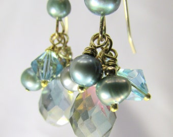 Seaside Aqua Teal Bridal or Bridesmaid Faceted Crystal and Freshwater pearl earrings - all 14k gold fill