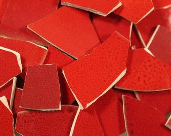 100 Red Mix Mosaic Tiles Pieces, Mosaic Supplies, Thin Ceramic Tiles, Item # ST-5095
