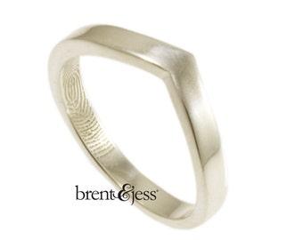 Chevron Fingerprint Ring, Wedding Ring with Your Actual Fingerprint on the Inside - Sterling Silver Fingerprint Ring
