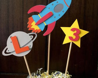 Rocket Centerpieces - Spaceship Decorations -Space Party Theme - Outer Space Party - Space Birthday - Rocket Ship Centerpieces