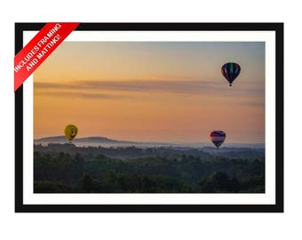Hot Air Balloon at Sunrise (Framed Matted Artwork)
