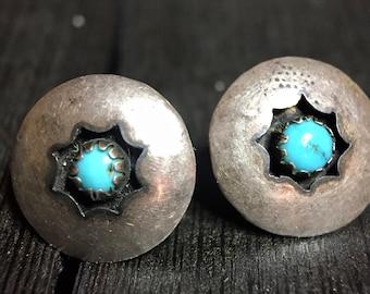 Vintage Navajo Sterling Silve/ Turquoise Shadowbox Earrings  #339