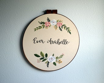 Large Custom Name Embroidery Hoop, Baby Name Embroidery, Nursery Wall Art, Custom Name Sign, Embroidery Hoop Art, Wildflower Name Sign