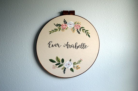 Large Custom Name Embroidery Hoop Baby Name Embroidery
