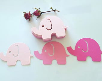 Elephant die cuts,Pink elephant cutout,Pink Gray Elephant, First Birthday Decor, Gold elephant cut outs,Baby shower decor,Elephant Theme