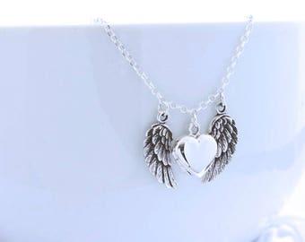 Angel Wing Locket, Sterling Silver heart locket,  Guardian angel locket, Sweet 16 locket Necklace, Choose Locket Sm, Med, Large. Mony-Art
