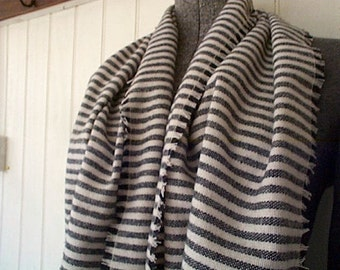 Charcoal stripe wool scarf - eco vintage fabric