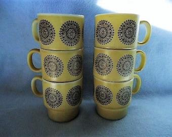 Stackable Beige & Brown Milk Glass Mugs Set of 6 1970's Vintage