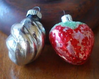 vintage pair of mercury glass christmas ornaments - silver swirl - red strawberry - shiny brite - slovakia - Christmas Decor