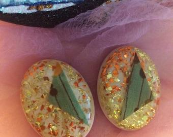 Atomic Fabric and Glitter Lucite Earrings