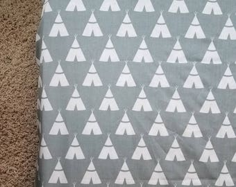 Crib Toddler Fitted Sheet Bedding Teepee Outdoors Woodland Boy Girl Nursery Gender Neutral Grey White