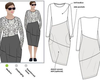Style Arc Maisie Designer Dress - Sizes 10, 12, 14 - Women's cocoon shaped skirt with asymmetrical design lines Dress - PDF Sewing Pattern