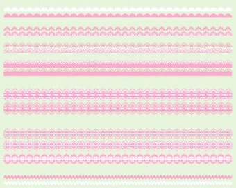 Pink borders clip art, borders clipart, cute borders, borders,(personal & small business use). Transparent and white background