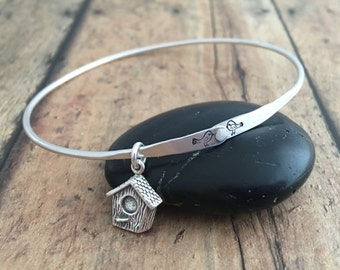 Bird and Birdhouse Bangle Bracelet, Hand Formed and Riveted Love Birds and Birdhouse Charm Bangle Bracelet