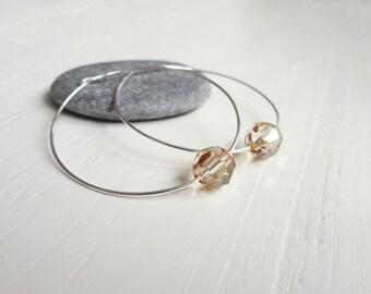 Silver hoop earrings swarovski crystal earrings large hoop earrings champagne swarovski crystals silver earrings for women
