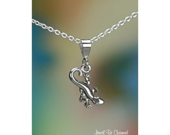 Sterling Silver Tiny Newt Gecko or Salamander Necklace or Pendant Only