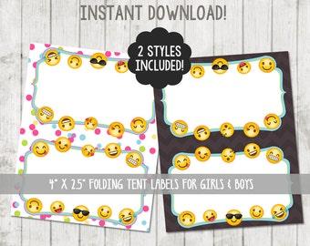 Printable Emoji Food Tent Labels Emoji Food Labels Emoji Party Emoji Tent Cards Emoji Birthday Emoji Party Printable Folding Label Cards