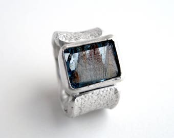 Topaz Ring Sterling Silver Orange Peel Texture Ring With Natural Blue Landscape Topaz Solitaire Jewelry November Birth Stone Topaz
