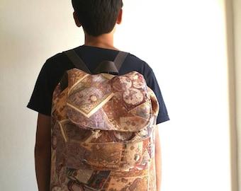 Canvas Backpack, Rucksack, Travel Bag, Hipster Backpack, Diaper Bag, Boho Bag, Baby shower Gift, Back To School Gift,  Old World Map Bag