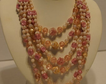 Vintage Necklace West Germany Multi Strand Pink White Beads