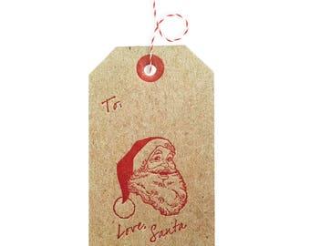 Love Santa Christmas Gift Tags Letterpress - 4 pack