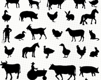Farm / Farm animals - 40 svg/dxf/eps/silhouette studio/png - Silhouettes, cutting file - cow sheep pig horse donkey svg die cutting files