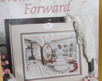 """Cross Stitch Pattern Booklet 1992 """"From This Day Forward""""   Leisure Arts 2210 used fold out"""