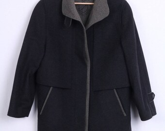 C&A Womens 12 S Coat Black Wool Single Breasted Vintage