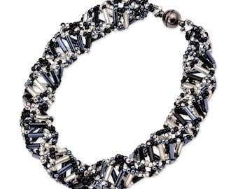 """DNA Black & White Beaded Bracelet - 9.5"""" Long"""