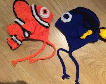 Nemo or Dory crochet hat