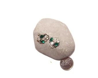 Vintage green and white rhinestone clip earrings, petite earrings, elegant clip earrings, clip on earrings