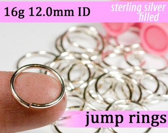 16g 12.0mm ID silver filled jump rings -- 16g12.00 jumprings links silverfilled