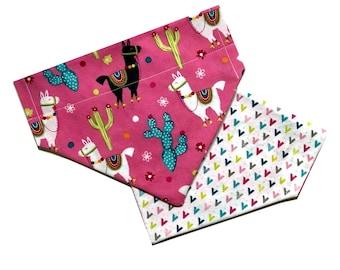 Llama Over the Collar Dog Bandana // Modern Style Reversible Bandanna // Cactus Dog Scarf // Dog Gift / Puppy Scarf // Bright Colors Bandana
