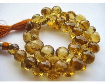 Beer Quartz Beads, Onion Briolettes, Faceted Briolette Beads, Faceted Beer Quartz, 8mm To 7mm, 4.5 InchHalf Strand, 25 Pieces Approx