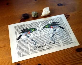 Wedding Gift   Valentine Gift   Hummingbird Love Art Print   Book Art   Engagement Gift   Personalized   Wall Decor   Husband Gift   Love