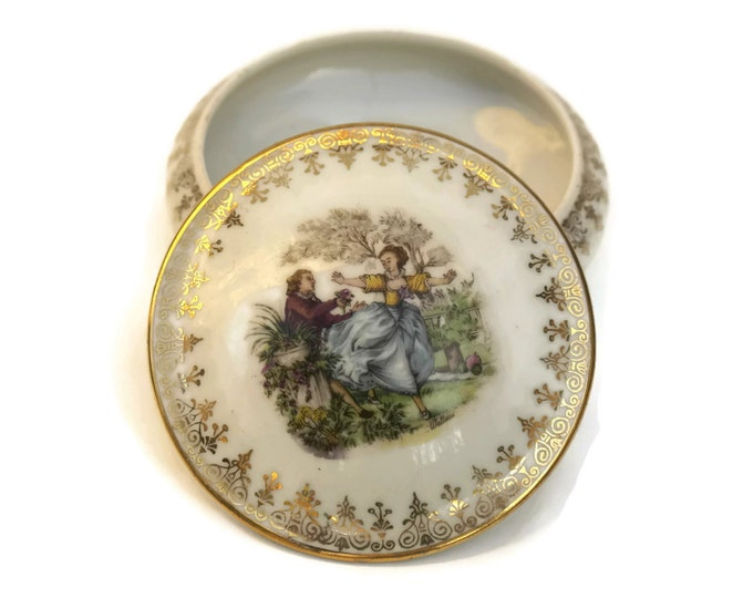 Limoges Porcelain Trinket Dish with Romantic French Illustration. French Vintage Jewelry Box.